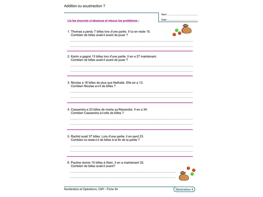 Fiche exercice addition soustraction CM1