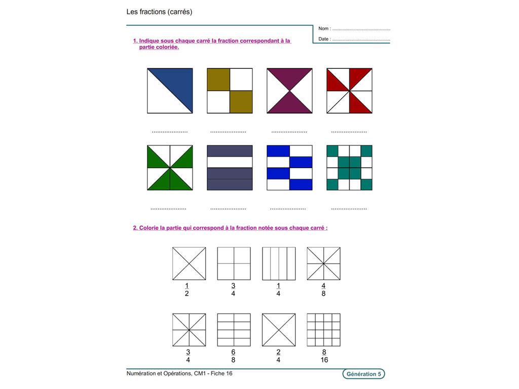 Fiche exercice fraction CM1