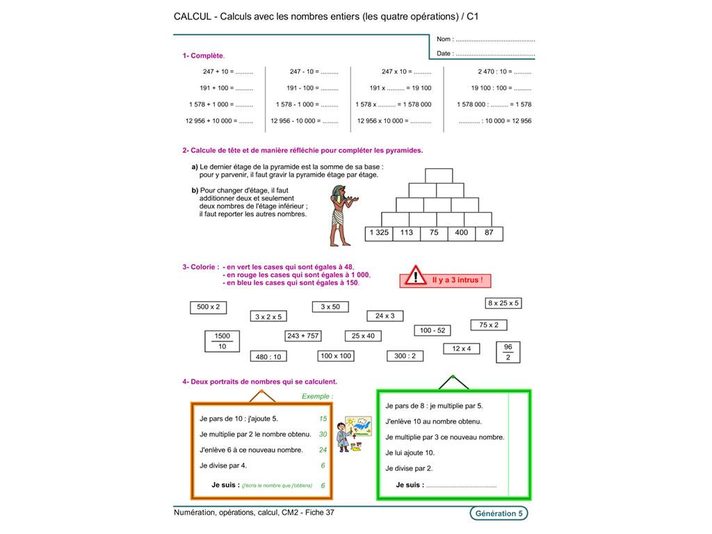 Fiche exercice calcul CM2