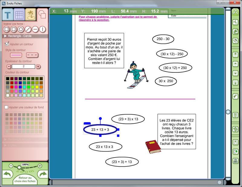 Logiciel Evolu Fiches - Résolution de problèmes maths au CE2