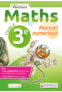 Manuel numérique iParcours Maths 3e (éd. 2016) pour l'enseignant
