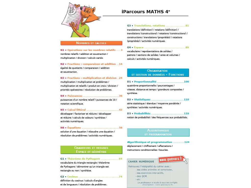 Cahier D Exercices Iparcours Maths 4e Ed 2017