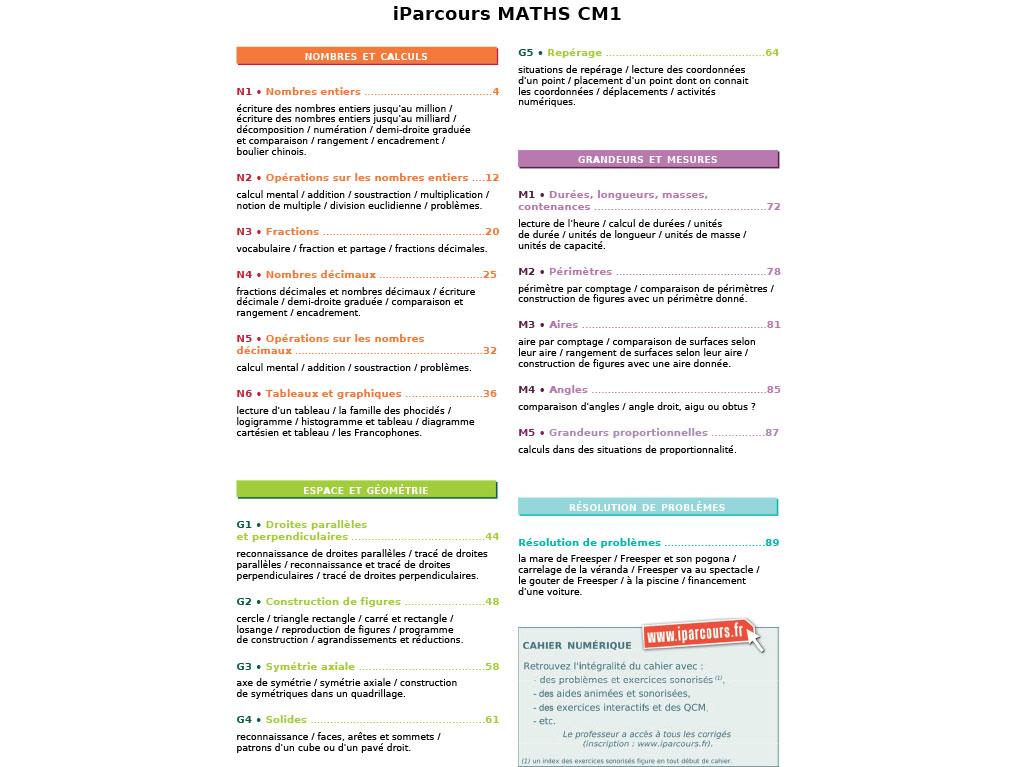 Cahier d'exercices iParcours MATHS CM1 (éd. 2017)