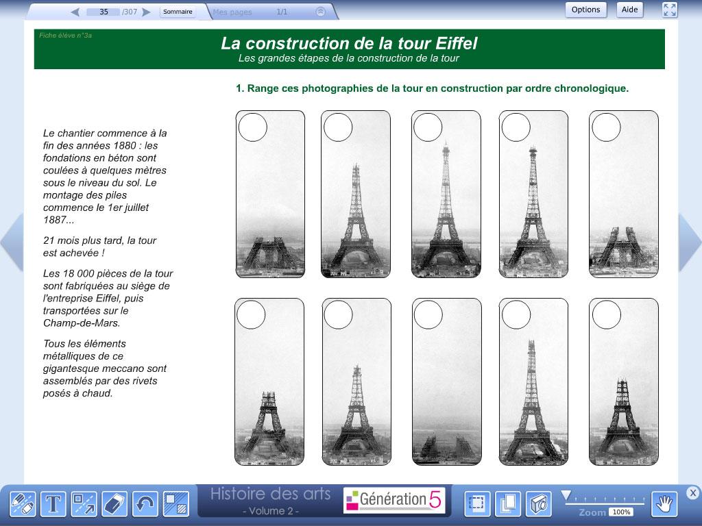 Logiciel exercice Tour Eiffel  - Histoire des Arts - Volume 2