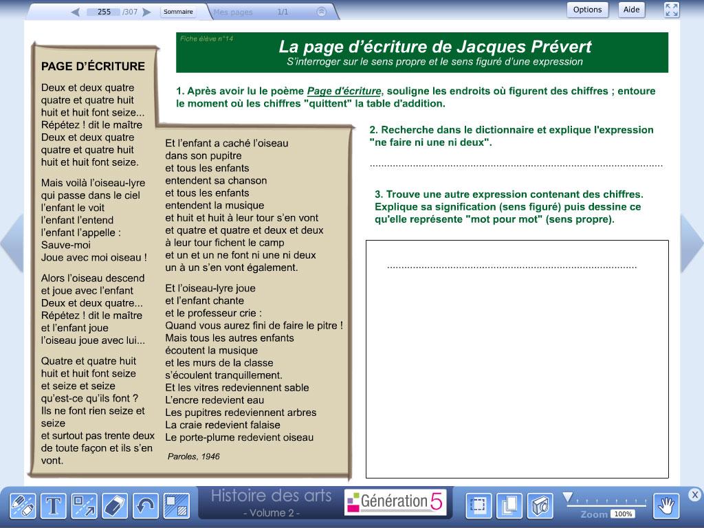 Logiciel exercice Jacques Prévert  - Histoire des Arts - Volume 2