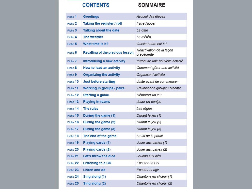 Fiche vocabulaire anglais Classroom English for primary teachers