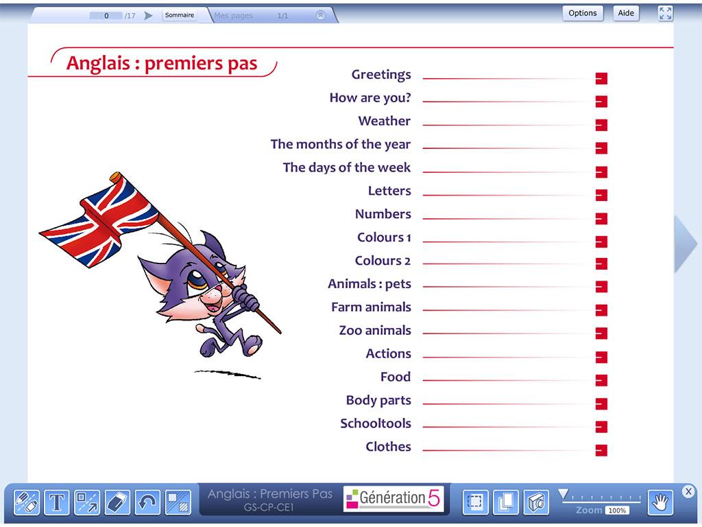 Logiciel Anglais : premiers pas (Ressources TBI - Vidéoprojection)