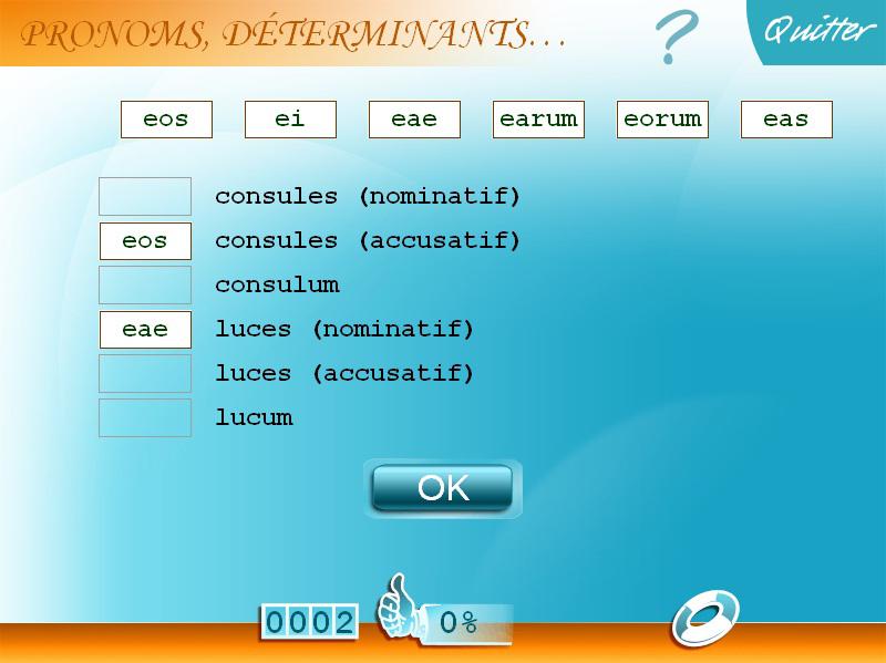 Exercice de grammaire latin