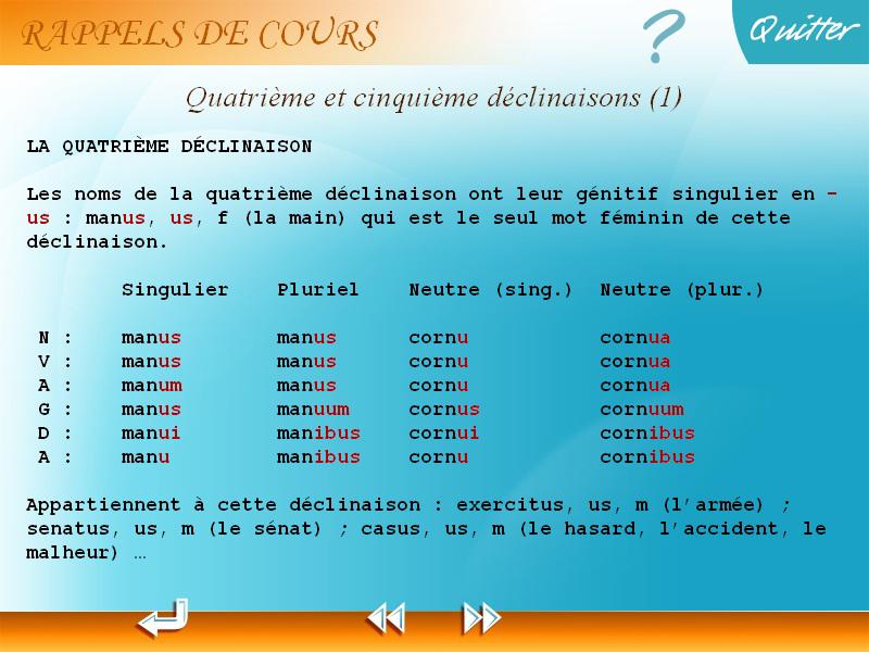 Rappel de cours latin