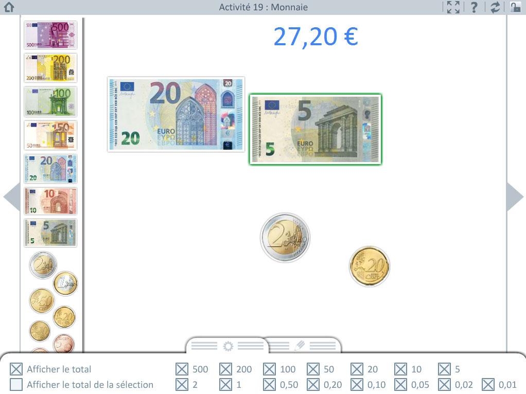 Activité de reconnaissance de la monnaie