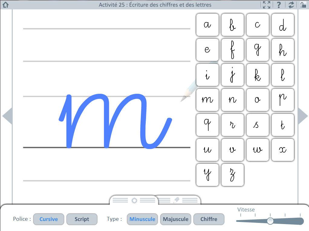Outil pour l'ecole - écriture de chiffres et lettres