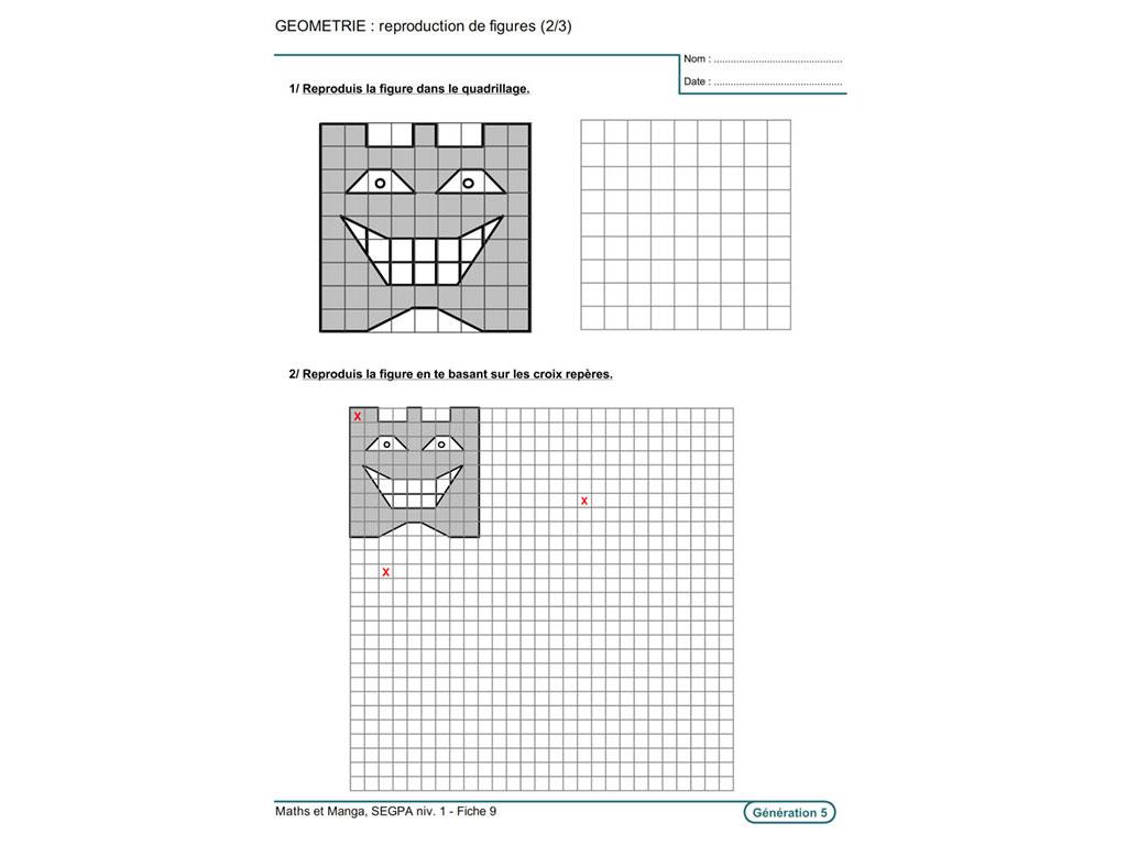 Fiche exercice pédagogique maths géométrie SEGPA