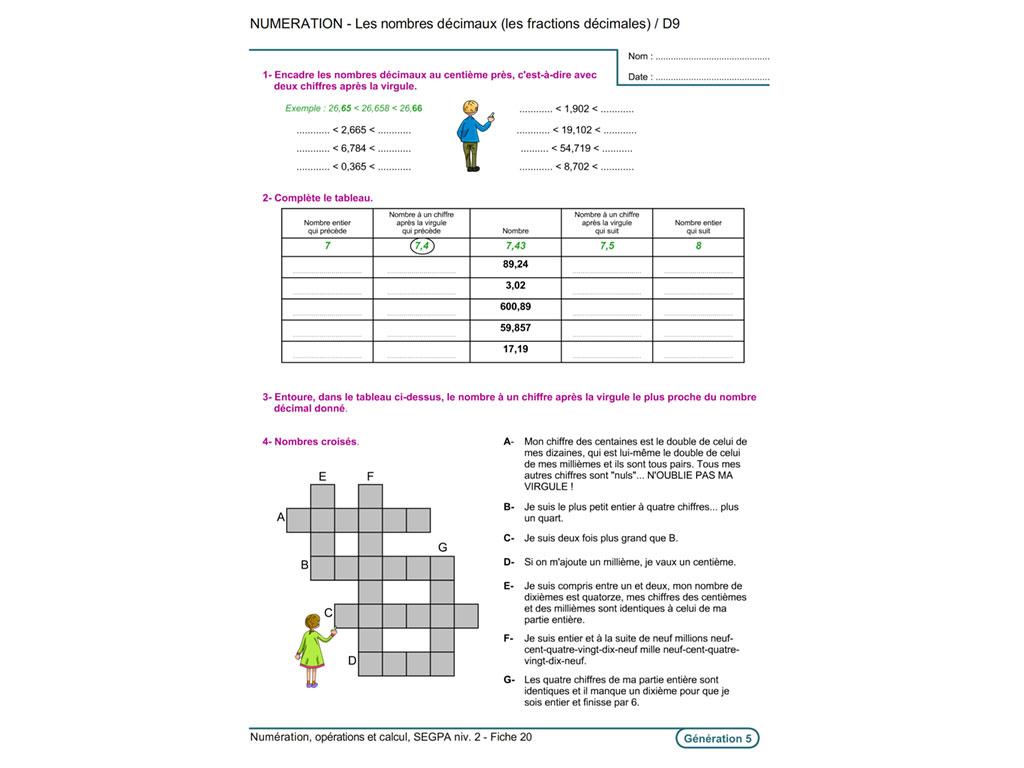 Fiche exercice pédagogique fractions SEGPA