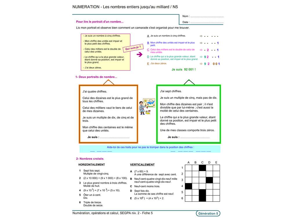 Fiche exercice pédagogique numération SEGPA
