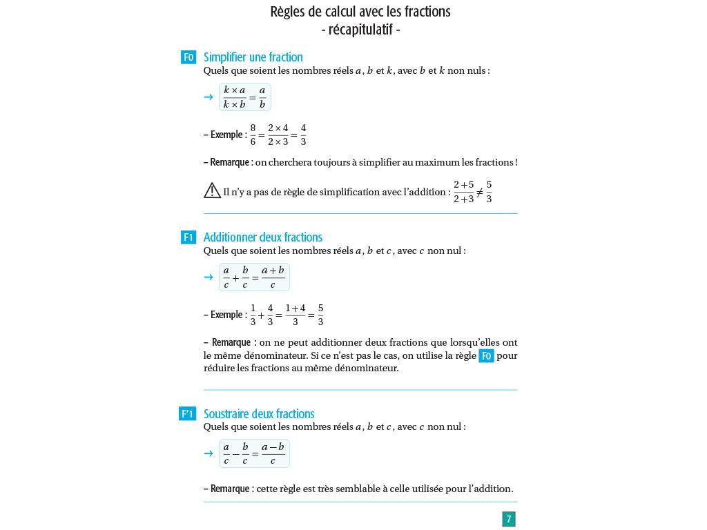 Règles fractions - Maths lycée seconde