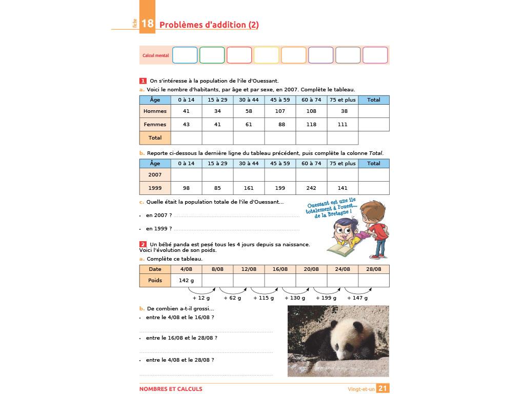 Problèmes d'addition - iParcours maths CE2