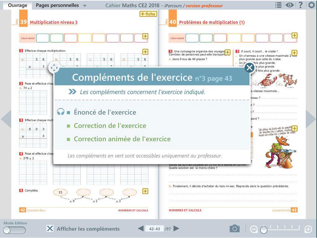 Compléments d'exercice - cahier numérique iParcours maths CE2