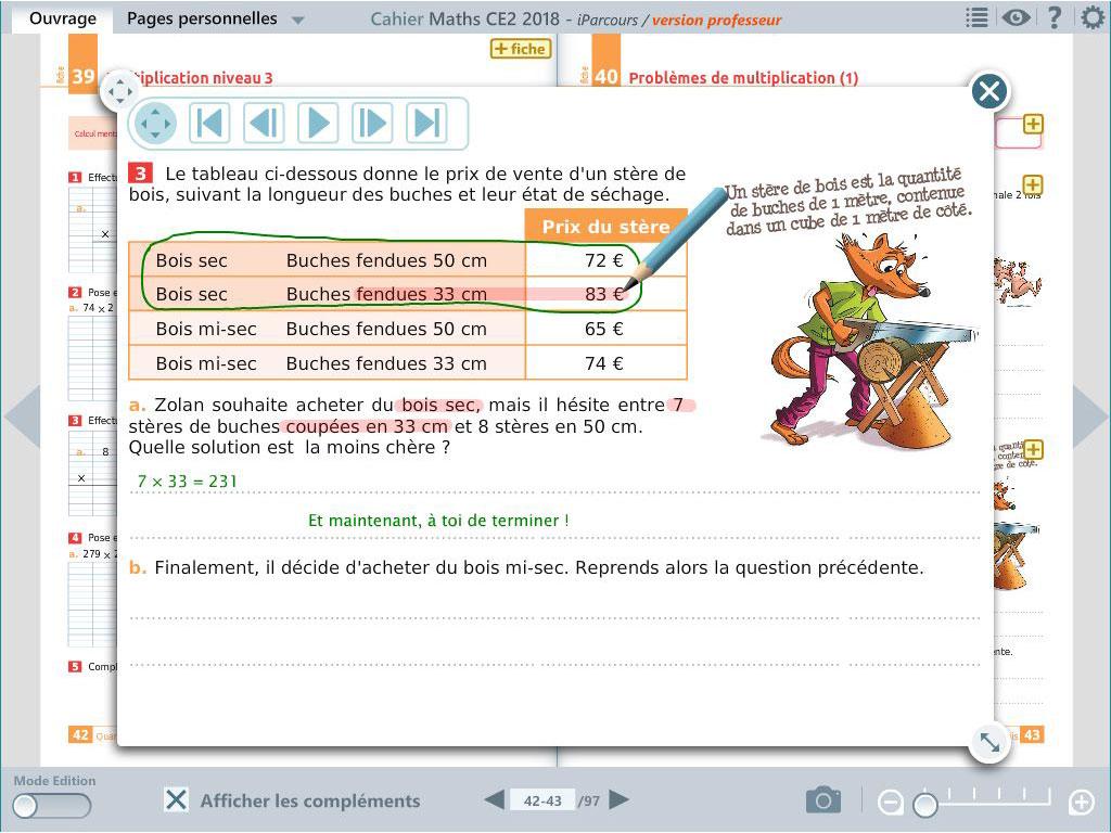 Correction animée -  cahier numérique iParcours maths CE2