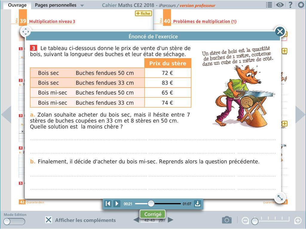 Enoncé oralisé -  cahier numérique iParcours maths CE2