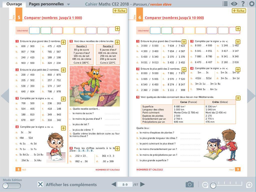 Exercices - cahier numérique iParcours maths CE2