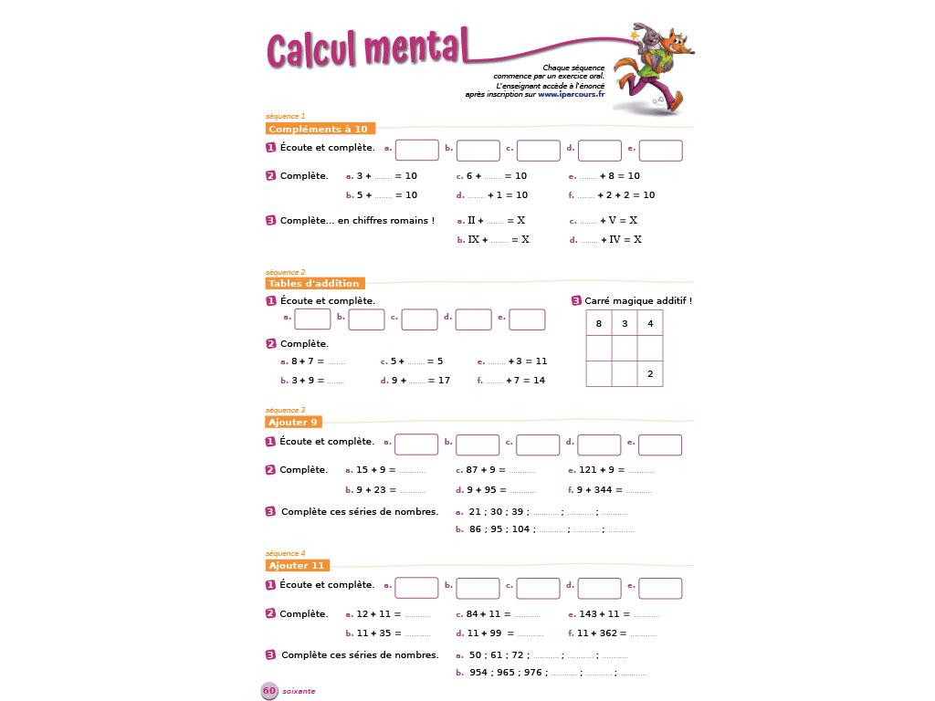 Calcul mental cycle 3 - P'tit Rusé iParcours