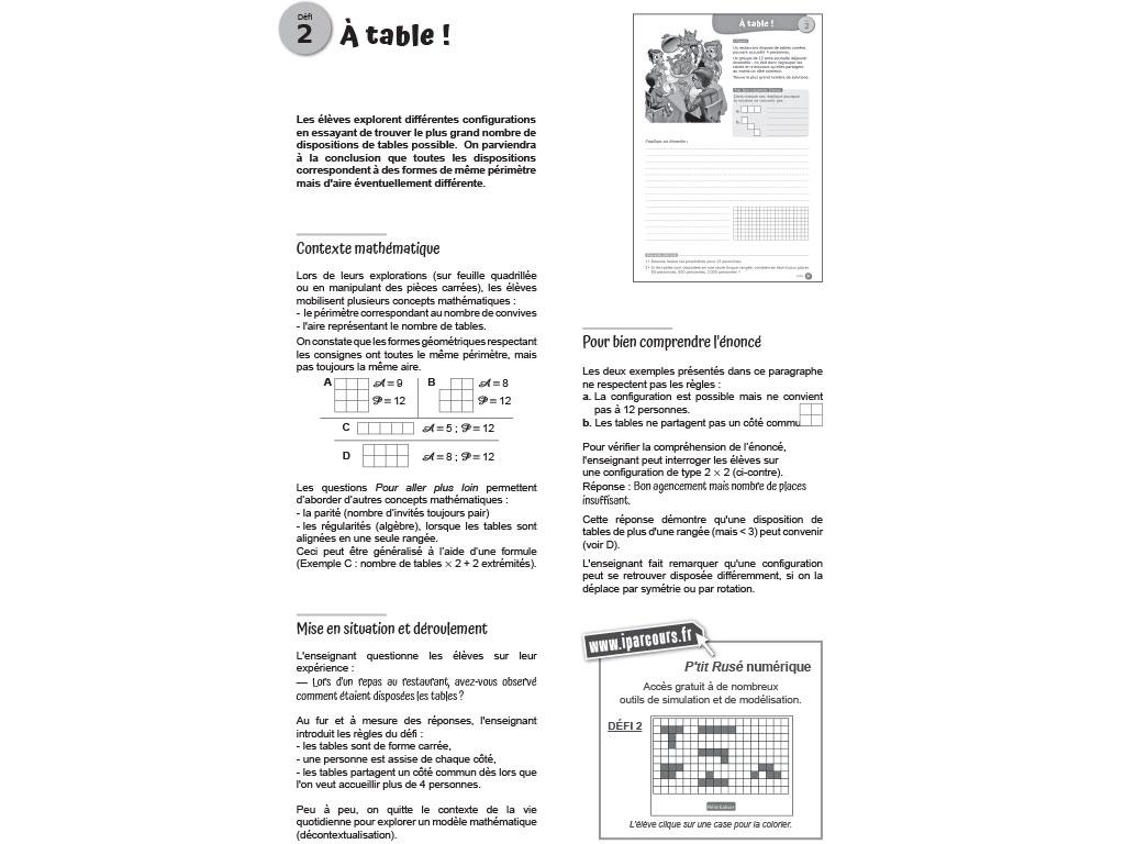 Organisation activité mathématiques cycle 3 - P'tit Rusé iParcours