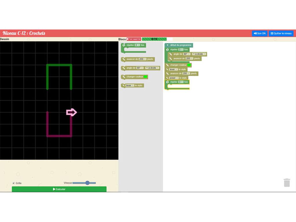 Exercice  d'algorithmique et programmation - logiciel Algoblocs +