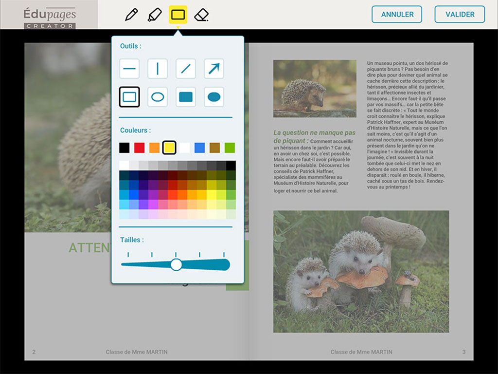 Outil d'annotation Edupages creator