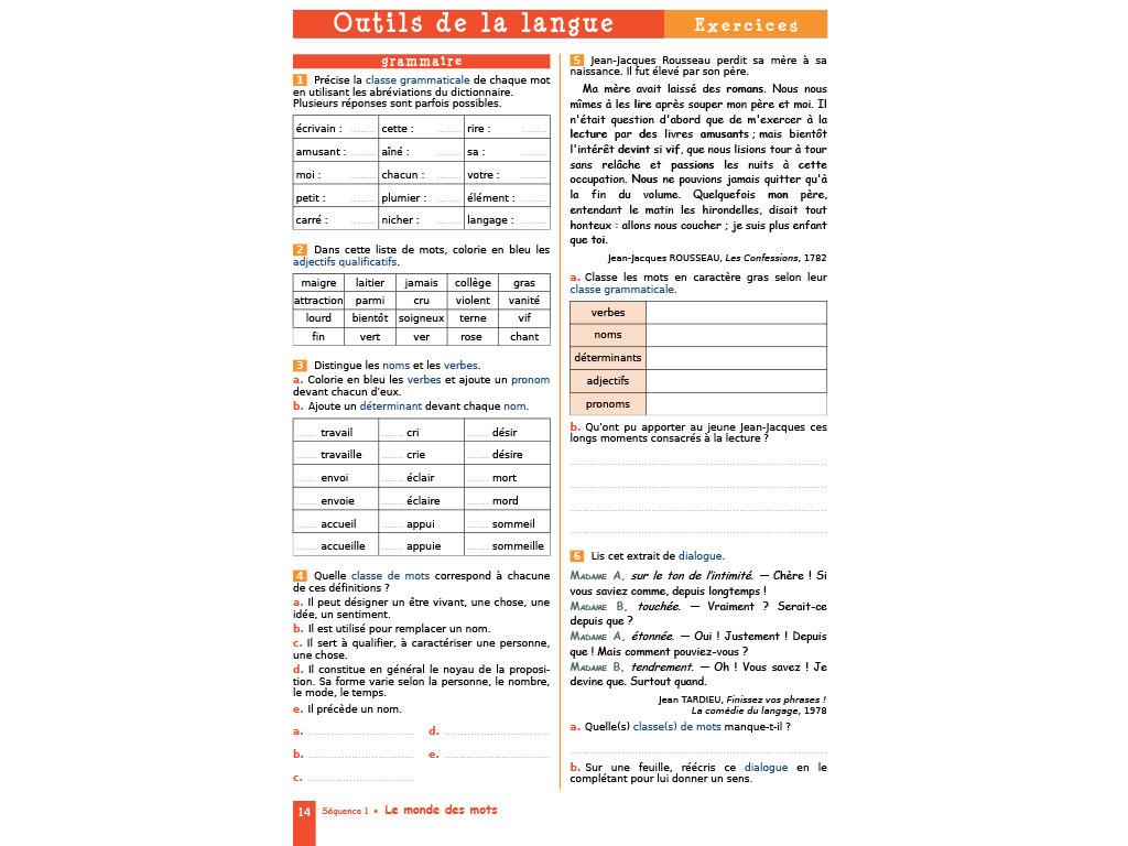 Cahier D Exercices Francais 6e Collection Iparcours