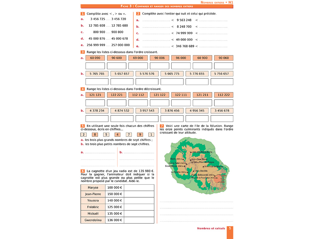 Comparer et ranger des nombres entiers