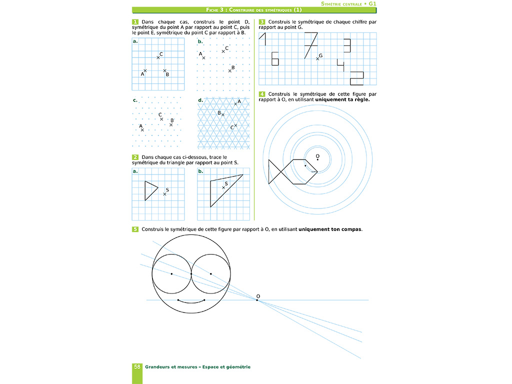 Symétries - Cahier d'exercices iparcours maths 5e