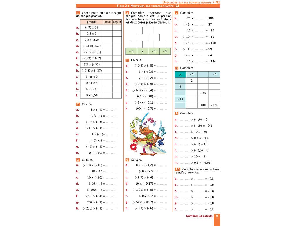 Multiplier des nombres relatifs