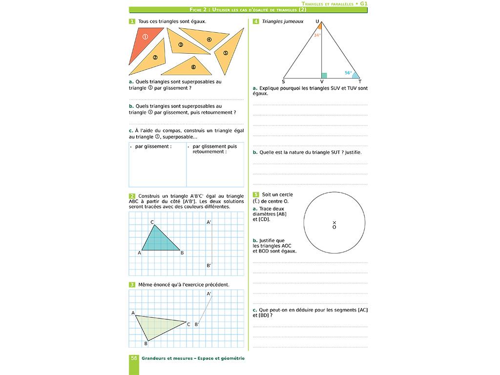 Utiliser les cas d'égalité de triangles