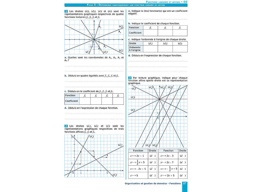 Déterminer graphiquement une fonction linéaire ou affine