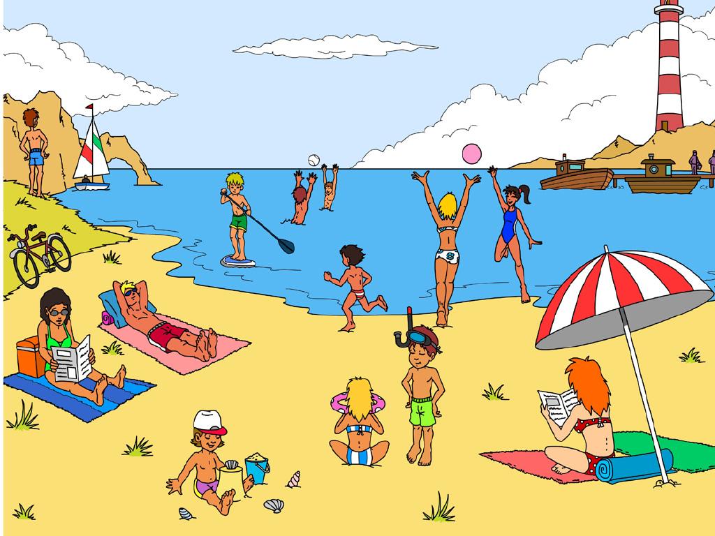 Scène illustrée de la plage - Vocabulaire en Maternelle