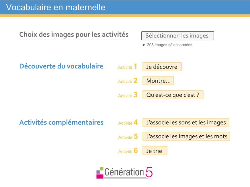 Logiciel interactif de Vocabulaire en Maternelle