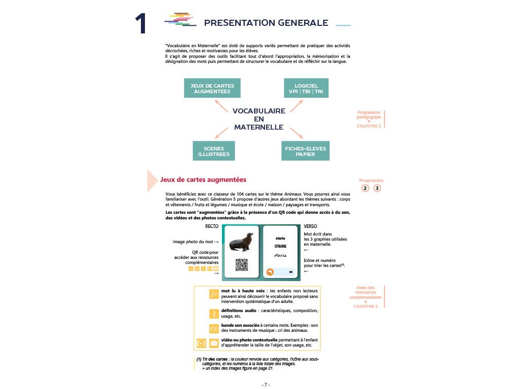 Kit pédagogique Vocabulaire en Maternelle