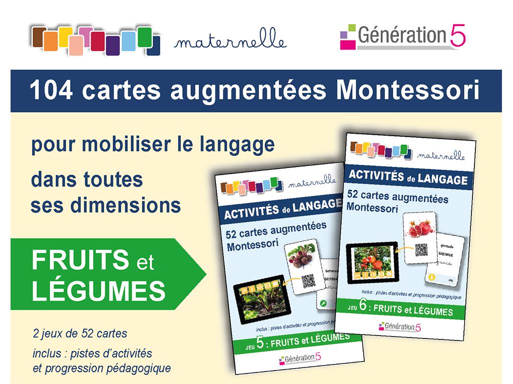 Cartes fruits légumes vocabulaire en maternelle - Montessori