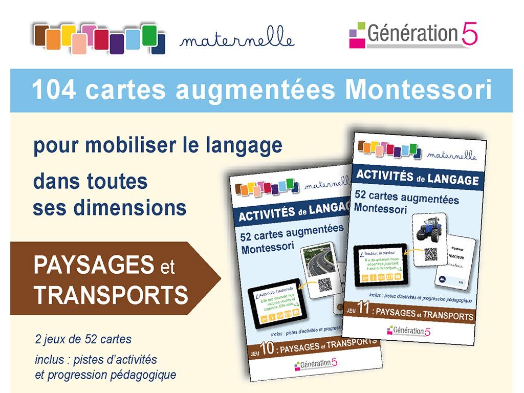 Cartes paysage transport vocabulaire en maternelle - Montessori