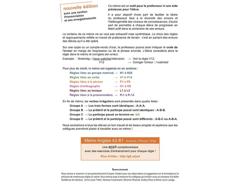 Mémo Anglais A2-B1 Intro