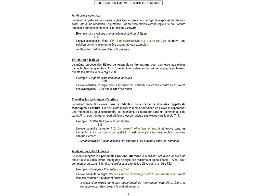Mémo français Rédiger-Analyser