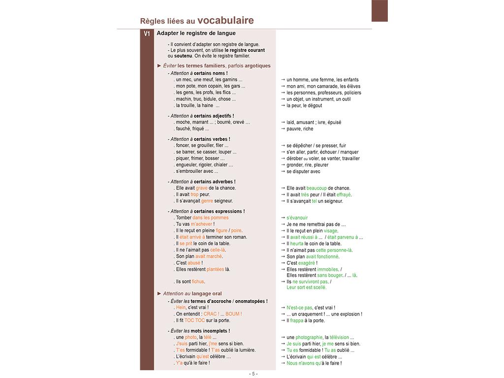 Le vocabulaire - Mémo français Rédiger-Analyser