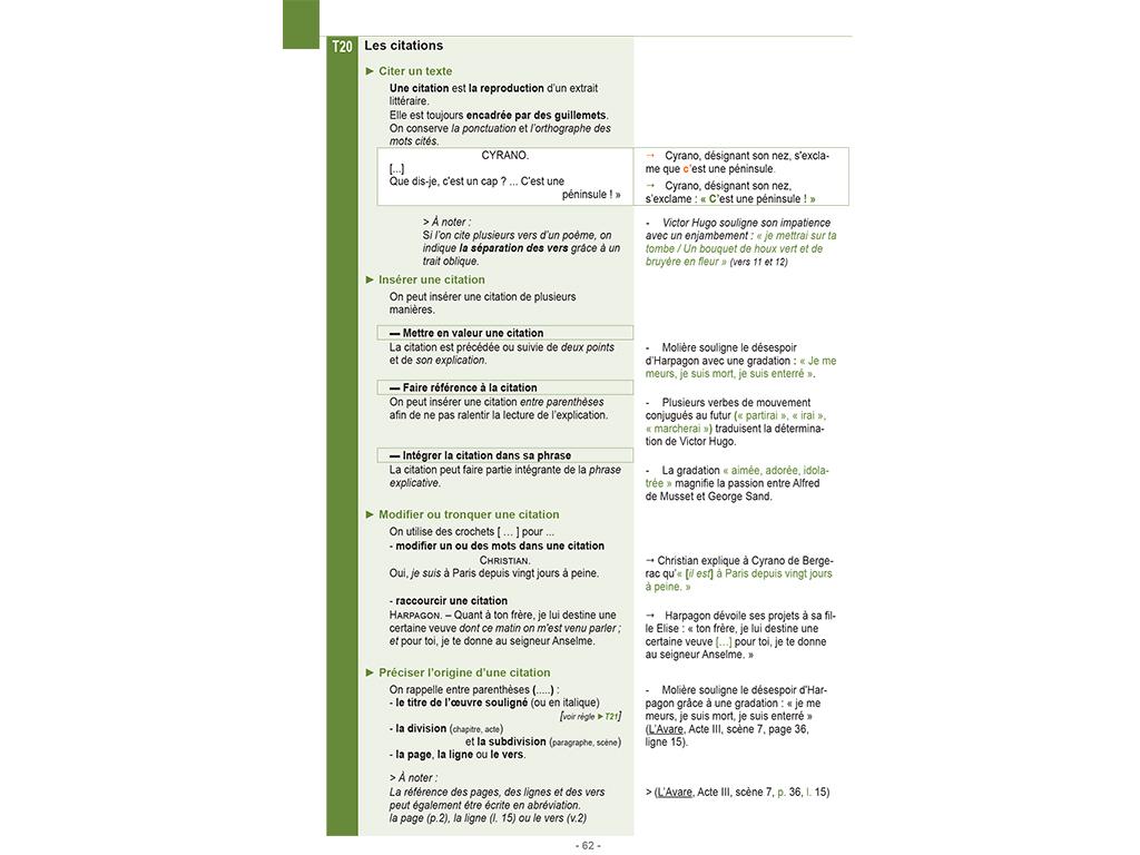 Les citations - Mémo français Rédiger-Analyser
