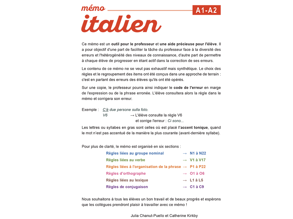 Mémo italien