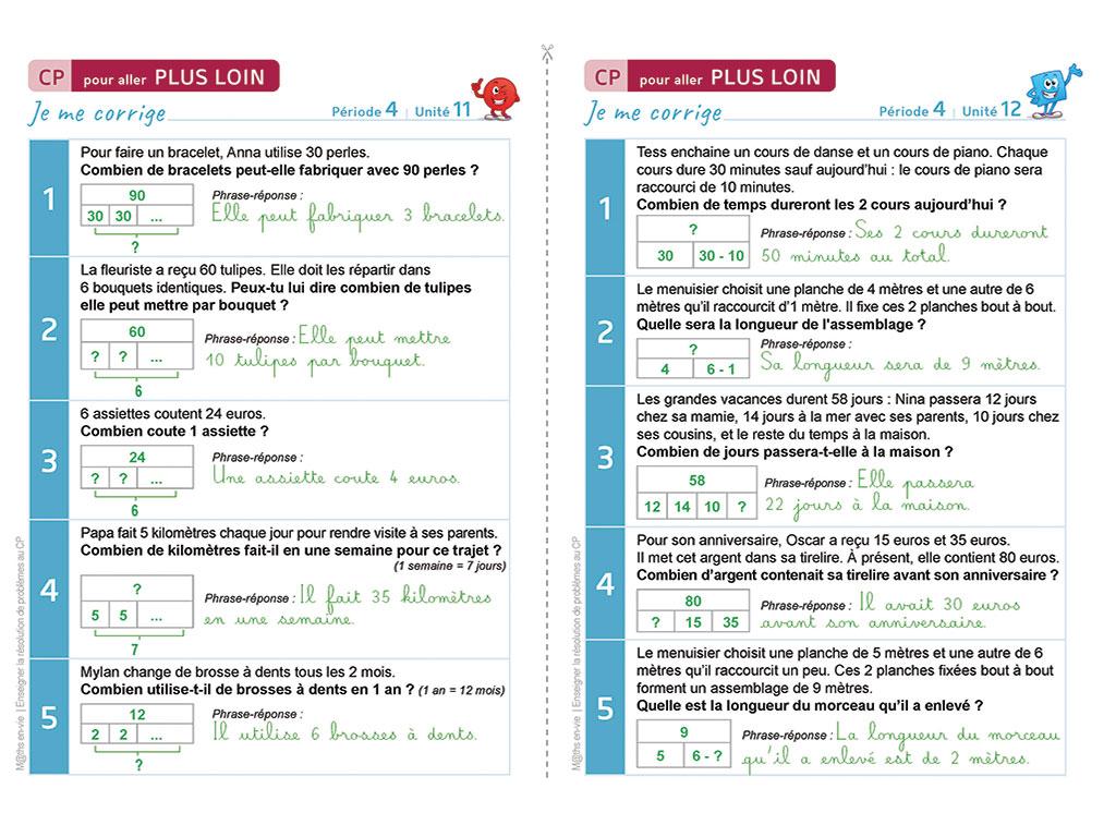 Correction d'exercices - Enseigner la résolution de problèmes au CP