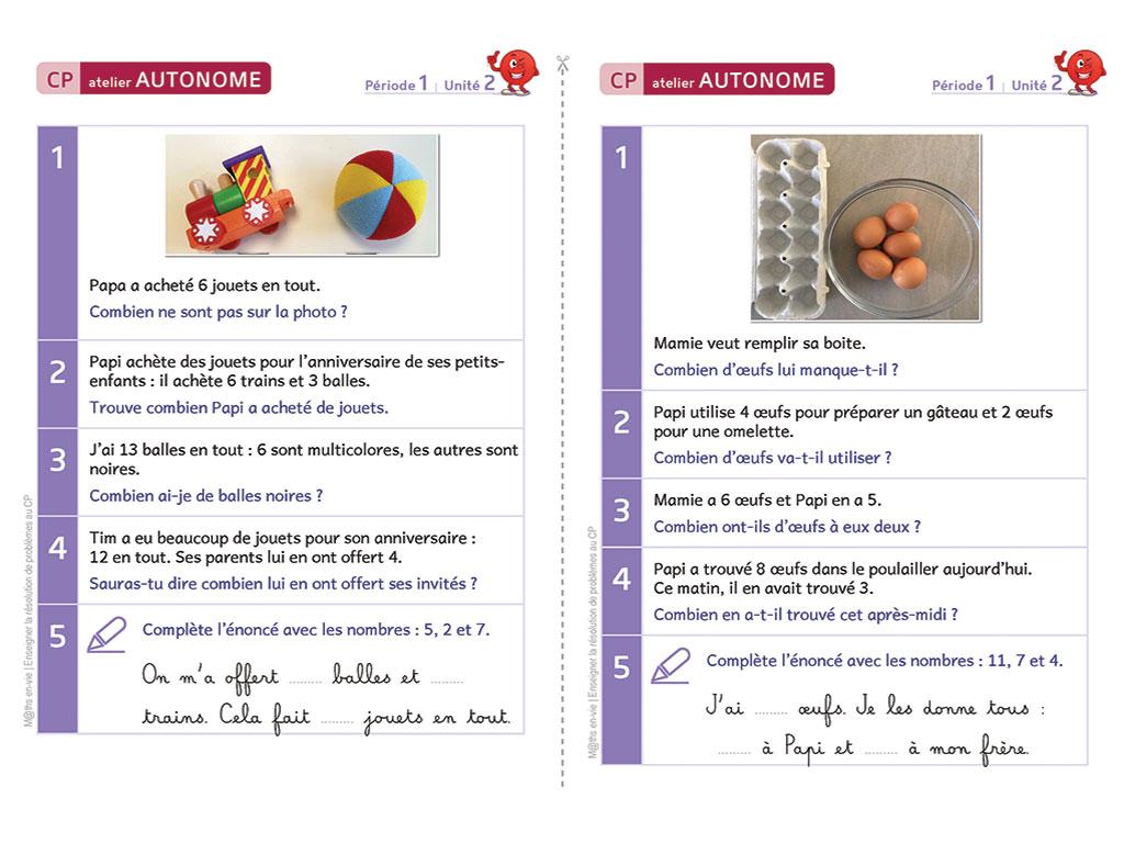 Exercices de résolution de problèmes - Enseigner la résolution de problèmes au CP