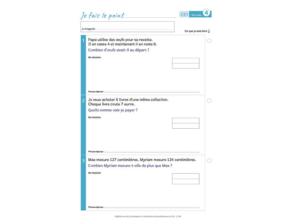 Evaluation - Enseigner la résolution de problèmes au CE1