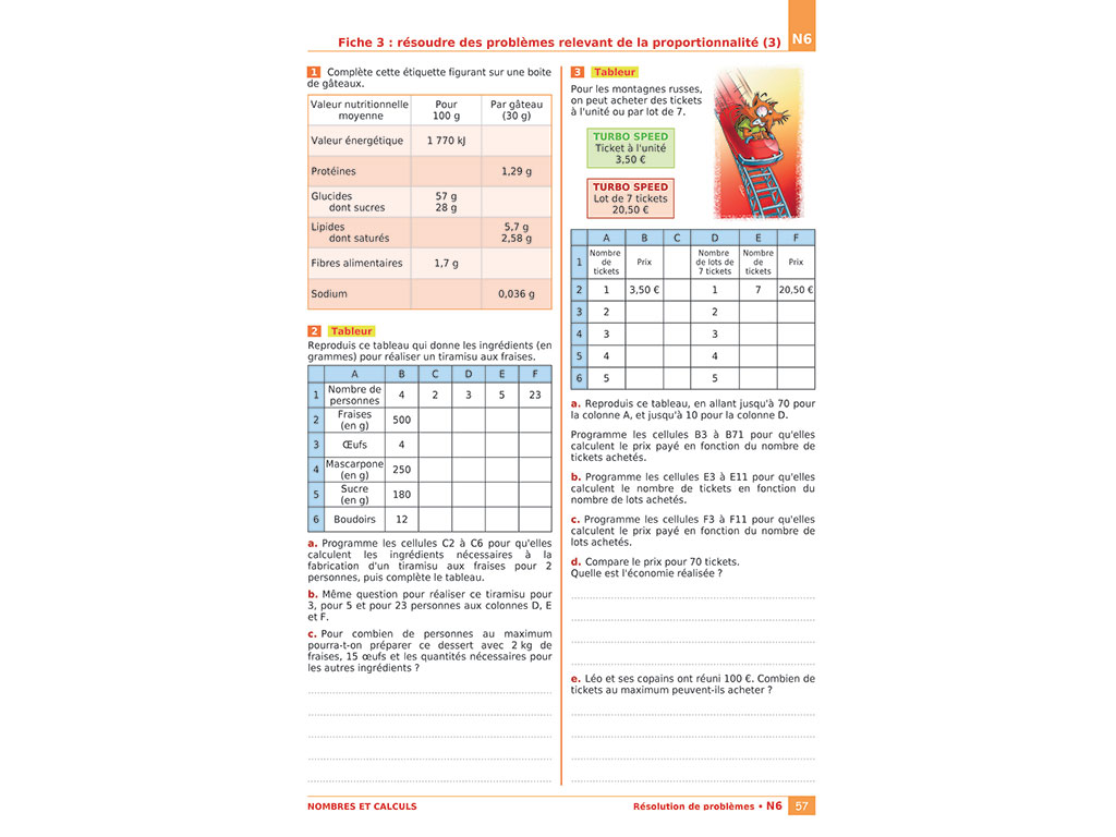 Page d'exercices - Cahier iparcours 6e
