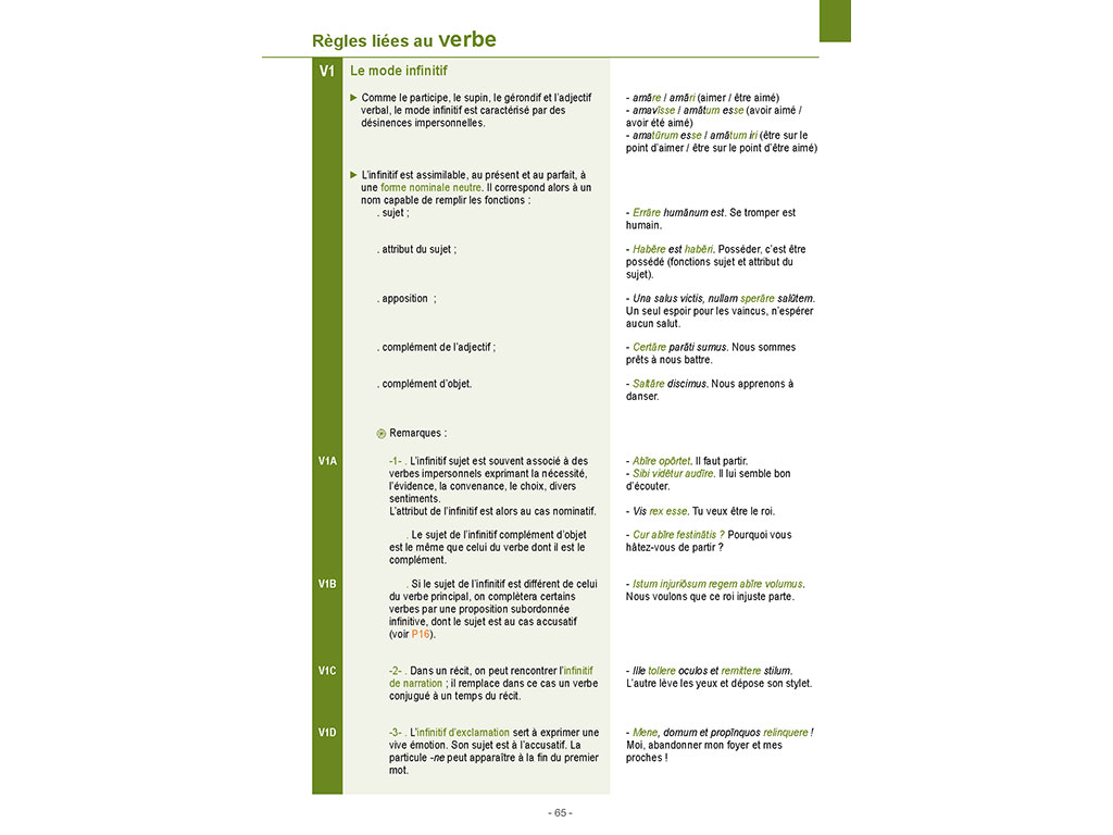 Mémo Latin - règles liées au verbe