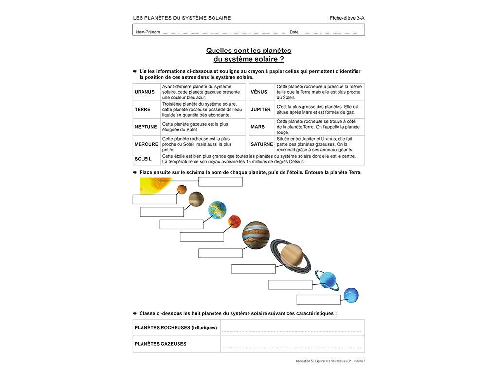 Fiche planètes - Explorer les sciences au CM